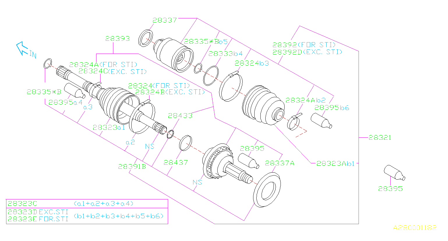 Diagram FRONT AXLE. DRIVE SHAFT '02MY-'04MY. for your 2002 Subaru WRX (205) 5MT 4WD WAGON